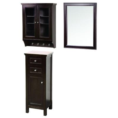 Foremost Gazette 42 in. L x 16 in. W Wall Mirror and Wall Cabinet with Glass Door and Floor Cabinet in Espresso