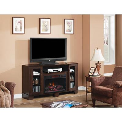 Home Decorators Collection Grand Haven 59 in. Media Console Electric Fireplace in Dark Cherry