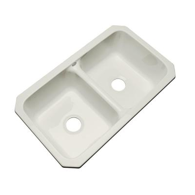 Thermocast Newport Undermount Acrylic 33x19.5x9 in. 0-Hole Double Bowl Kitchen Sink in Tender Grey
