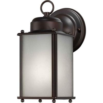 Talista 1-Light Outdoor Antique Bronze Lantern with Frosted Seeded Glass Panel
