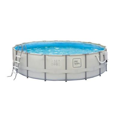 PRO Series 18 ft. Round 52 in. Deep Metal Frame Swimming Pool Package Product Photo