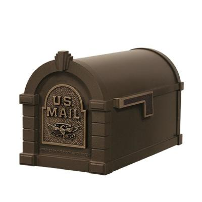 Keystone Series Aluminum Post-Mount Mailbox Bronze with Antique Bronze