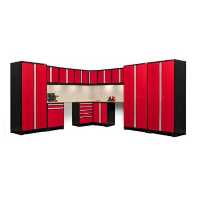 NewAge Products Pro 3 Series 85 in. H x 180 in. W x 116 in. D 18-Gauge Welded Steel Corner Cabinet Set in Red (15-Piece)