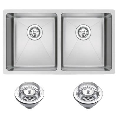 Water Creation Undermount Stainless Steel 31 in. 50/50 Double Basin Kitchen Sink with Strainer in Satin