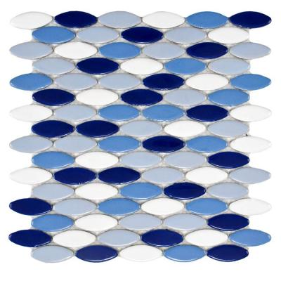 Merola Tile Cosmo Ellipse Glossy Oceano 10-1/4 in. x 12 in. x 8 mm Porcelain Mosaic Tile
