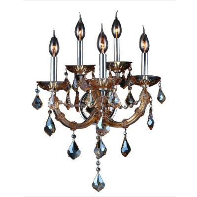 Lyre Collection 5-Light Chrome with Smoke Crystal Wall Sconce