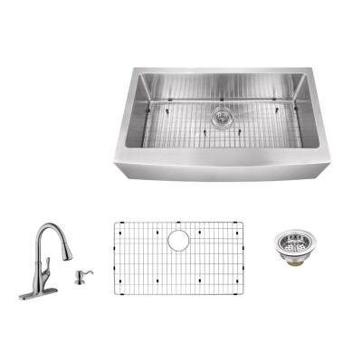 IPT Sink Company Apron Front 36 in. 16-Gauge Stainless Steel Single Bowl Kitchen Sink in Brushed Stainless with Gooseneck Faucet