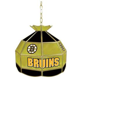 Trademark Global NHL Boston Bruins 16 in. Stained Glass Billiard Hanging Tiffany Light NHL1600-BB