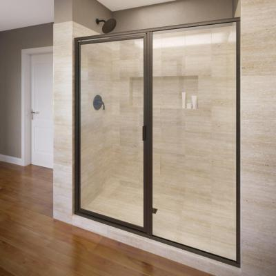 Basco Deluxe 59 in. x 68-5/8 in. Framed Pivot Shower Door in Oil Rubbed Bronze with Clear Glass