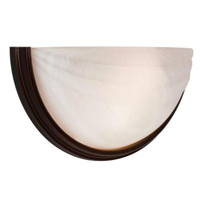 Crest 2-Light Oil-Rubbed Bronze Sconce with Alabaster Glass Shade