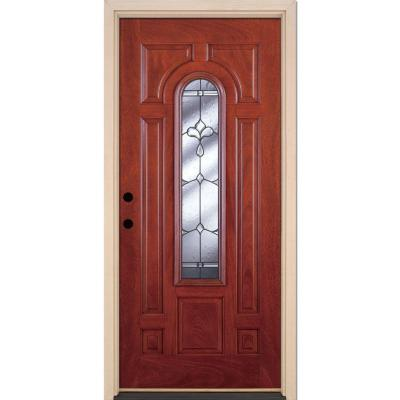 37.5 in. x 81.625 in. Carmel Patina Center Arch Lite Stained Cherry Mahogany Fiberglass Prehung Front Door Product Photo