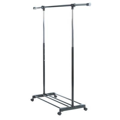 Whitmor Black and Chrome Collection 36.25 in. x 68 in. Deluxe Adjustable Garment Rack
