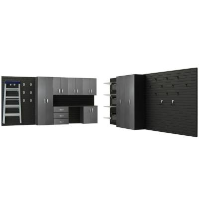 Flow Wall Deluxe 72 in. H x 336 in. W x 17 in. D Wall Mounted Garage Cabinet Set in Black/Graphite Carbon Fiber (9 Piece)