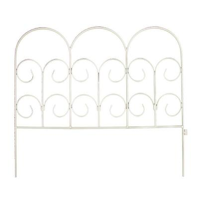 16 in. H White Chelsea Wrought Iron Garden Fence Product Photo