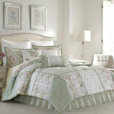 Harper Jade Green Floral Cotton Comforter Set