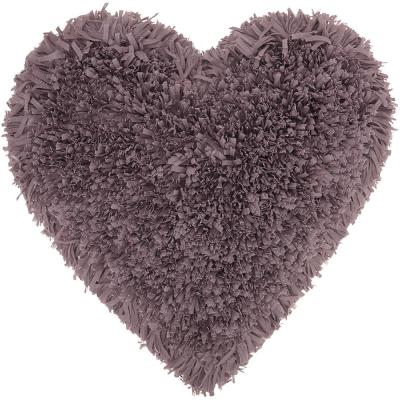 Fluffy Shag Frame Heart Solid Polyester Throw Pillow