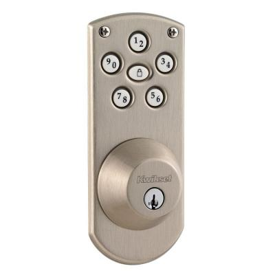 Powerbolt Single Cylinder Satin Nickel Electronic Deadbolt Featuring SmartKey