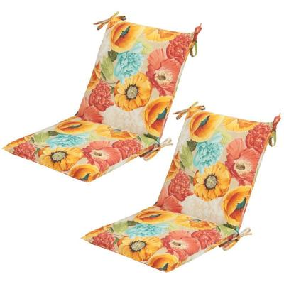 Spring Flower Mid-Back Outdoor Dining Chair Cushion (2-Pack)
