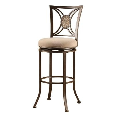Rowan 30 in. Swivel Bar Stool with Light Brown Fabric Seat in Silver Brown Product Photo