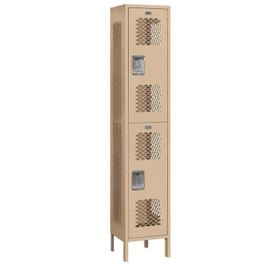 Salsbury Industries 82000 Series 15 in. W x 78 in. H x 15 in. D 2-Tier Extra Wide Vented Metal Locker Assembled in Tan