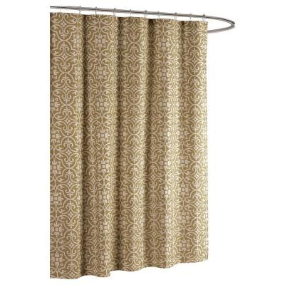 Creative Home Ideas Allure Printed Cotton Blend 72 in. W x 72 in. L Soft Fabric Shower Curtain Taupe