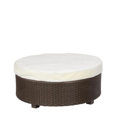 Hampton Bay Torquay Custom Wicker Outdoor Ottoman with Cushion Insert (Slipcovers Sold Separately)