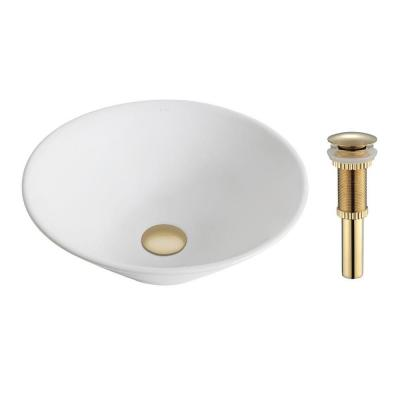 Elavo Vessel Sink in White with Pop-Up Drain in Gold