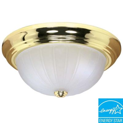 Green Matters 2-Light Polished Brass Dome Flush Mount
