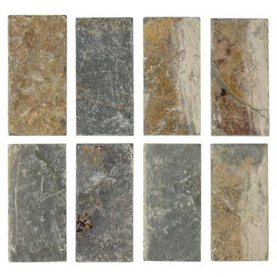 Tumbled Slate 3 in. x 6 in. x 8 mm Floor and Wall Slate Tile (8 pieces / pack) Product Photo