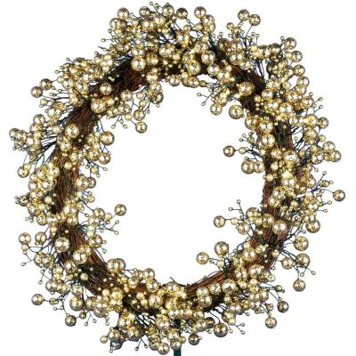 null 48-Light LED Gold 24 in. Battery Operated Berry Wreath with Timer