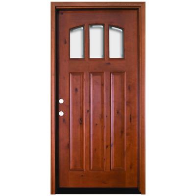 36 in. x 80 in. Craftsman 3 Lite Arch Stained Knotty Alder Wood Prehung Front Door Product Photo