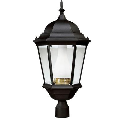 Welbourne Collection Textured Black 1-Light Fluorescent Post Lantern