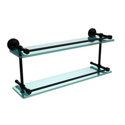 Waverly Place 22 in. W Double Glass Shelf with Gallery Rail in Matte Black Product Photo