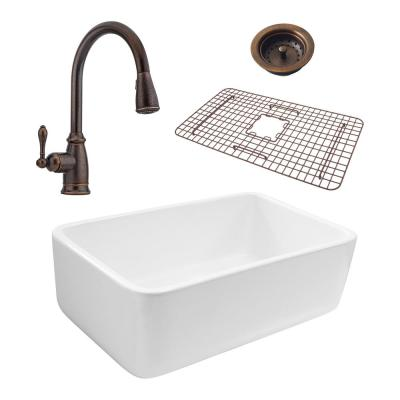 SINKOLOGY Bradstreet Reversible All-In-One Farmhouse Fireclay 30.5 in. Single Basin Kitchen Sink with Pfister Rustic Bronze Faucet
