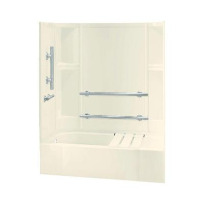 STERLING Accord 30 in. x 60 in. x 72 in. Bath and Shower Kit in Biscuit