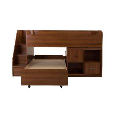 Mobby Twin-Size Loft Bed Frame with Trundle and Storage Unit in Morgan Cherry Product Photo