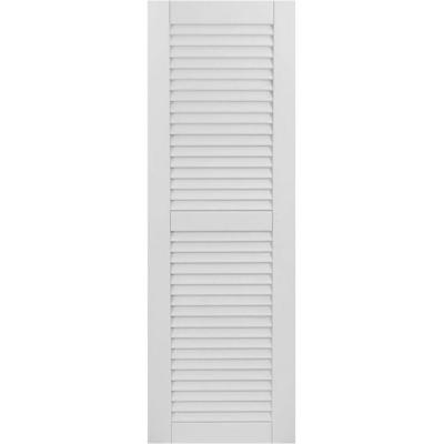 18 in. x 26 in. Exterior Composite Wood Louvered Shutters Pair