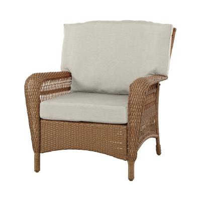 Martha Stewart Living Charlottetown Natural All Weather Wicker Patio Lounge Chair With Custom
