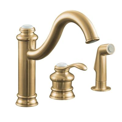 KOHLER Fairfax Single-Control Single Handle Mid Arc Remote Valve Kitchen Sink Faucet with Sidespray in Vibrant Brushed Bronze