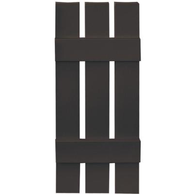 12 in. x 31 in. Board-N-Batten Shutters Pair,3 Boards Spaced #010 Musket Brown Product Photo