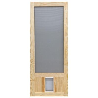 32 in. x 80 in. Chesapeake Series Reversible Wood Screen Door with Medium Pet Flap Product Photo
