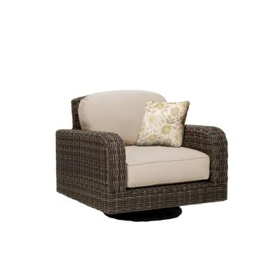 Northshore Patio Motion Lounge Chair in Sparrow with Aphrodite Spring Throw