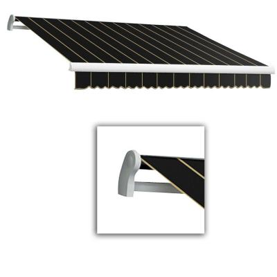 AWNTECH 12 ft. Maui-LX Left Motor Retractable Acrylic Awning with Remote (120 in. Projection) in Black Pin