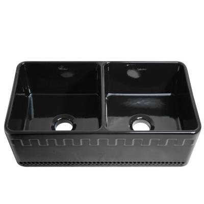 ... Apron Front Fireclay 33 in. 0-Hole Double Bowl Kitchen Sink in Black