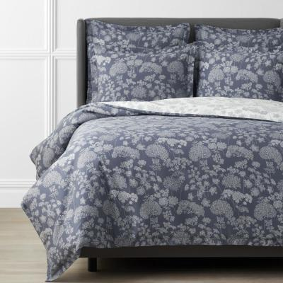 Legends Hotel Hana Cotton and TENCEL Lyocell Ivory/Slate Blue Sateen Duvet Cover
