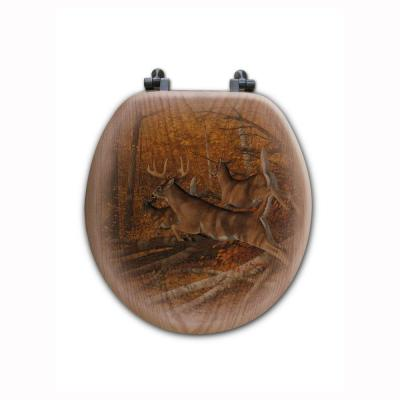 Maple Rush Round Closed Front Wood Toilet Seat in Oak Brown Product Photo