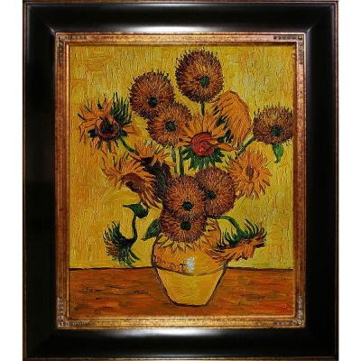 24 in. x 20 in. Vase with Fifteen Sunflowers Hand Painted