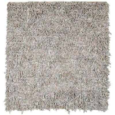 Leather Shag White 8 ft. x 8 ft. Square Area Rug