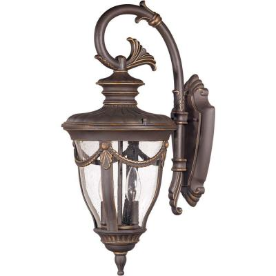 Glomar 2-Light Outdoor Belgium Bronze Mid-Size Wall Lamp with Arm Down and Seeded Glass