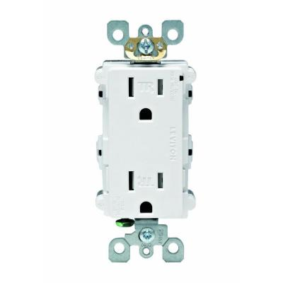 15 Amp Tamper Resistant Decora Duplex Receptacle, Surge Suppressor Device - White Product Photo